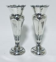 Pair of Antique Sterling Silver Trumpet Shaped Vases (3 of 12)
