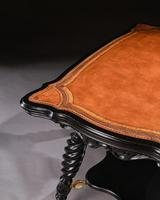Merklen Bros 19th Century Ebonised Leather Table (4 of 6)