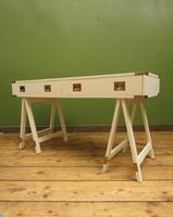 Vintage Scandi Boho White Campaign Style Desk with Trestle Legs (13 of 17)