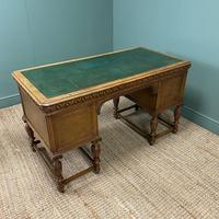 Victorian Oak Antique Pedestal Desk Circa 1890 (9 of 9)