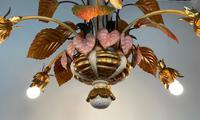 Large Florentine Ceiling Light Chandelier Toleware with Polychrome Painting (7 of 11)