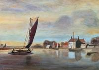 Contemporary, British School - Sailing on the Estuary - Seascape Oil Painting (2 of 11)