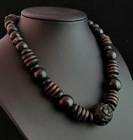 Victorian Bog Oak & Wood Bead Necklace (4 of 10)