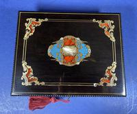 19th century French Ebony, Brass Lacquer & Red Tortoiseshell Jewellery Box (12 of 17)