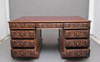 19th Century Carved Oak Partners Desk (3 of 17)