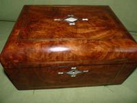 Quality Inlaid Burr Walnut Jewellery Box + Tray. c1875. (2 of 12)