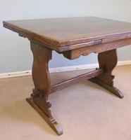Refectory Oak Draw Leaf Dining Table c.1930 (5 of 11)