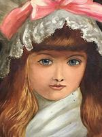 """19th Century Victorian Oil Painting Young Girl Silk White Dress """"Cherry Ripe"""" Portrait After Sir John Everett Millais (3 of 12)"""