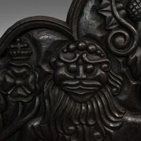 Antique Fireback, English, Cast Iron, Decorative Fireplace, Victorian c.1900 (8 of 8)
