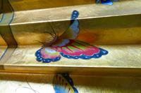 5ft Vintage Oriental Hand Painted Gold Wall Fan with Butterflies (8 of 10)