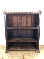 Victorian Walnut Open Bookcase with Gallery Top (10 of 11)
