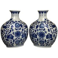 Pair of Fine Chinese Nanking Style Porcelain Blue & White Flask Vases