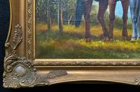 Original Signed 20th Century Vintage Horse & Foal Equestrian Oil on Canvas Painting (7 of 10)