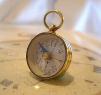 Vintage French Pocket Watch Chain Compass Fob 1940s Chunky Brass Drum Case Fwo (5 of 10)