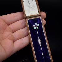 Boxed Antique Natural Opal & Spinel Silver Stick Pin Brooch (2 of 9)