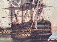 Seascape Oil Painting First Rate Man O War Ships Portsmouth Harbour Signed Brian Coole (17 of 39)