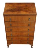 Retro 6 drawer figured walnut chest of drawers c.1930 (5 of 8)