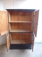 Trendy Painted Black 4 Door 1 Piece Antique Pine Storage / Linen / TV Cupboard (5 of 8)