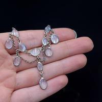 Antique Moonstone Sterling Silver Drop Fringe Festoon Necklace (6 of 8)