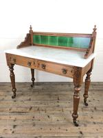 Antique Pine and Marble Washstand with Tiled Back