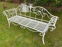 Large French Art Deco Style Fleur De Lis Garden Double Bowed  Curved Bench Seats 3 (30 of 37)