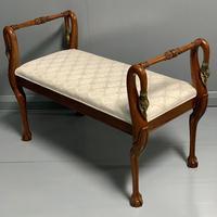 French mahogany and brass Swan neck piano stool (3 of 6)