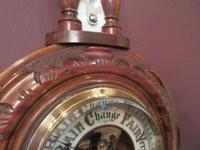 Small Antique Polished Walnut Banjo Barometer (6 of 7)