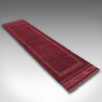 Long Antique Meshwari Runner, Persian, Wool, Kilim, Hallway, Carpet c.1900 (4 of 12)