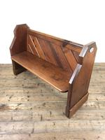 Antique Pitch Pine Church Pew with Enamel Number 35 (2 of 12)