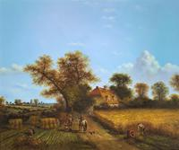 Original Victorian Harvest Countryside Landscape Oil Painting (2 of 10)