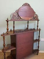 Antique Victorian Burr Walnut Display Whatnot Side Cabinet (13 of 13)