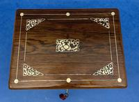 William IV Rosewood Jewellery Box Inlaid with Beautiful Mother of Pearl (3 of 14)