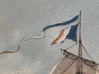 "Seascape Oil Painting Naval Frigate Ships Napoleonic War Sea ""Battle Trafalgar"" (23 of 25)"