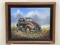 """Oil Painting """"Unloved Abandoned VW Beetle Car"""" Signed David Robert (3 of 27)"""