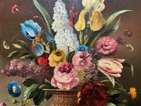 Striking Early 1900s Antique Large Floral Display Oil on Canvas Painting (7 of 12)