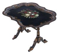 Victorian Tilt Top Decorated Black Lacquer Tray Top Coffee Table (5 of 11)
