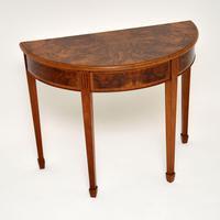 Antique Burr Walnut Demi Lune Console Table (6 of 8)