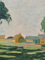 Exquisite Original Early 20th Century Impressionist Farmland Landscape Oil Painting (8 of 12)