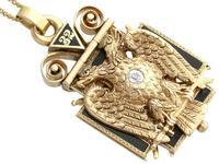 0.29ct Diamond, 0.20ct Ruby & Enamel, 12ct Yellow Gold Masonic Pendant / Watch Fob - Antique c.1900 (5 of 15)