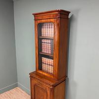 Tall Slim Victorian Mahogany Antique Bookcase on Cupboard (10 of 10)