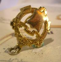 Vintage Pocket Watch Chain Fob 1950s Victorian Revival 12ct Gold Plated Shield Fob