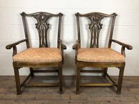 Pair of 19th Century Chippendale Style North Country Armchairs