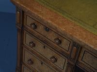 Victorian Birds Eye Maple Kneehole Pedestal Desk (11 of 17)