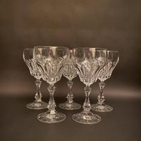 Five Val St Lambert Crystal Wine Glasses