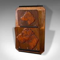 Antique Decorative Dog Letter Rack, English, Mahogany, Oak, Wall, Edwardian (3 of 8)