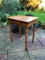 Antique 18th Century French Solid Fruitwood Rustic Side Table With Drawer