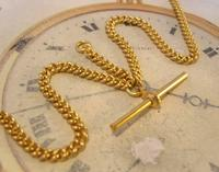 Vintage Pocket Watch Chain 1970 12ct Gold Plated Curb Link Albert With T Bar (5 of 10)