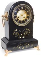 Antique French Slate Mantel Clock 8-Day Arch Top Striking Mantle Clock with Gilt Decoration (7 of 9)