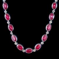 Art Deco Red Paste Riviere Necklace Silver c.1920 (7 of 8)