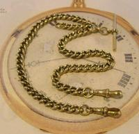 Antique Pocket Watch Chain 1890s Victorian large Brass Double Albert With T Bar (6 of 12)
